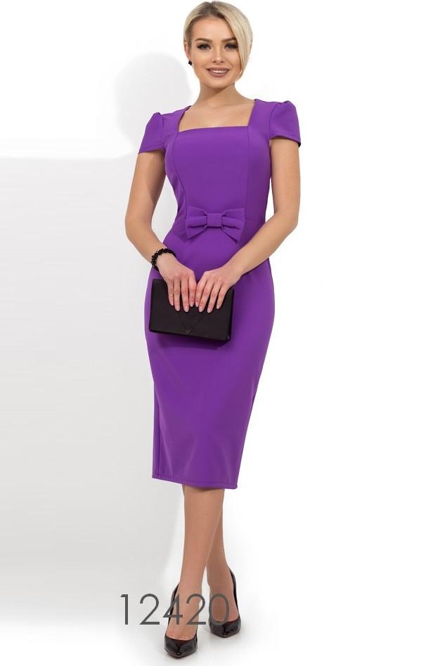 1941296a0016 Фиолетовое платье-футляр с бантом на талии Д-1229 - Bigl.ua