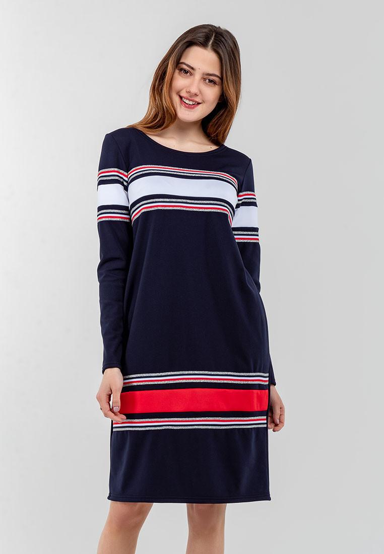 Женское с длинными рукавами и горизонтальными вставками тесьмы Modniy Oazis синий 90337, фото 1