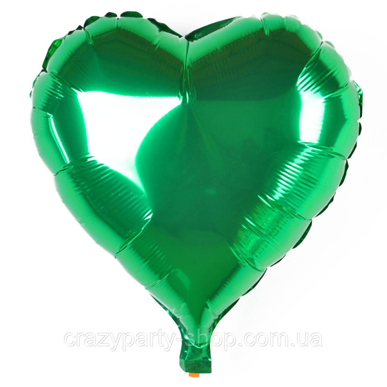 """Шар фольгированный Сердце зеленое 18"""" Испания"""