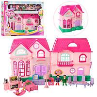 Детский домик для куколс мебелью и аксессуарами, фигурки, звук, свет, дом для кукол 16526D