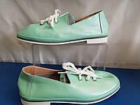 Женские кожаные туфли цвет мятный, фото 1