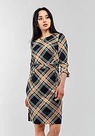 Красивое трикотажное женское платье в клетку с рукавом 3/4 Modniy Oazis желтый 90342, фото 1