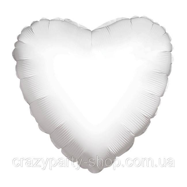 """Куля фольгований Серце біле 18"""""""