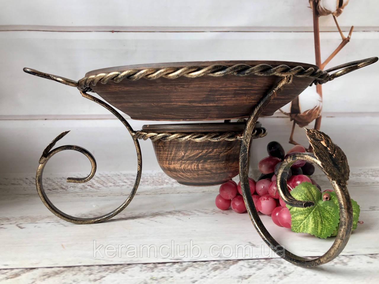 Набор садж для подачи шашлыка из красной глины