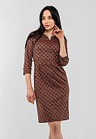 Красивое трикотажное женское платье в клетку с рукавом 3/4 Modniy Oazis оранжевый 90342/1, фото 1