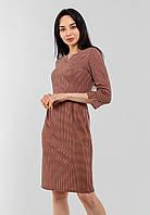 Красивое трикотажное женское платье в клетку с рукавом 3/4 Modniy Oazis бежевый 90342/2, фото 1