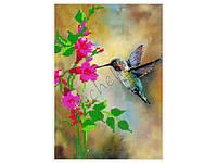 Набор для частичной вышивки бисером на габардине - «Птичка колибри»