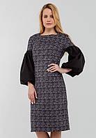Cтильное приталенное женское платье с объемными рукавами Modniy Oazis чёрный 90344, фото 1