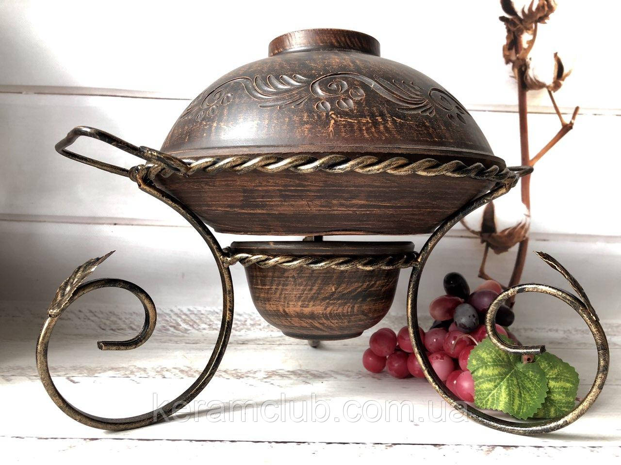 Садж для подачи шашлыка из красной глины с крышкой