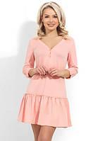 Короткое пудровое трикотажное платье с юбкой-волан Д-1265