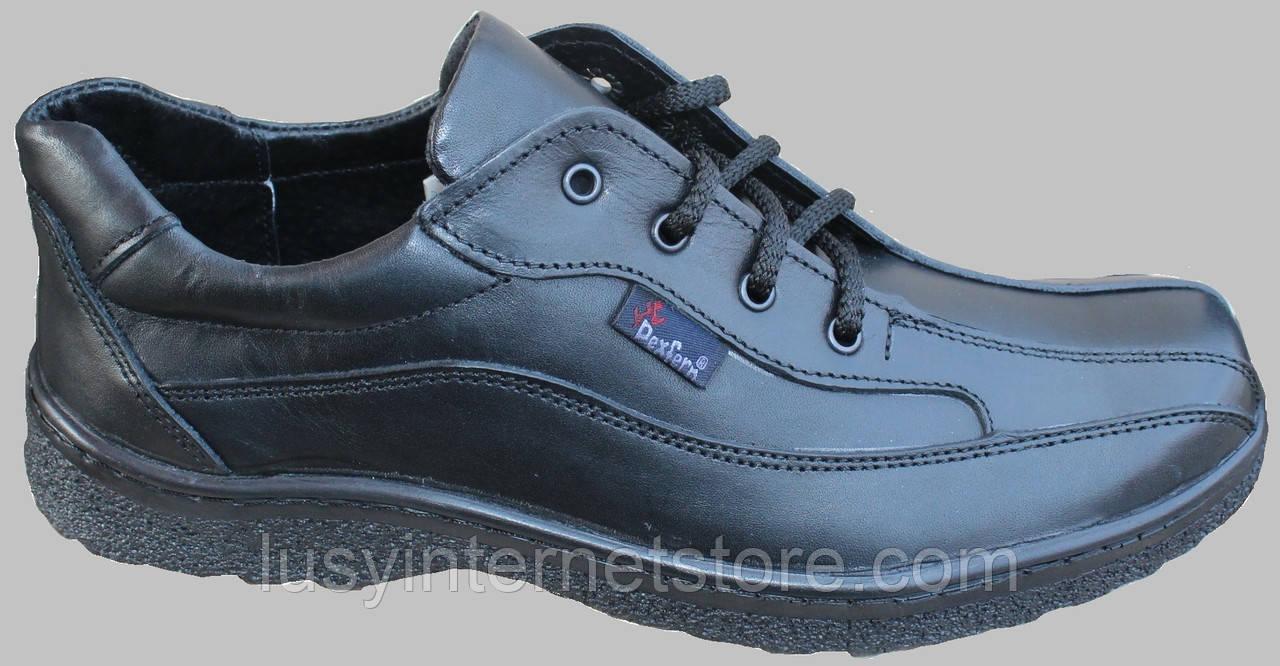 Туфли черные кожаные мужские на шнурках от производителя модель СЛ110