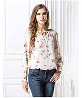 """Легкая женская блуза с длинным рукавом  """"Spring mood"""" кремовая с птичками"""
