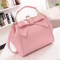 Женская сумка из лаковой экокожи с застежкой поцелуйчик розовая, фото 1