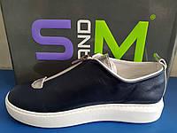 Женские кожаные туфли синие последний размер 38, фото 1