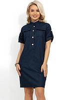 Темно-синее джинсовое платье Д-1271