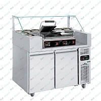 Холодильная рабочая станция + гриль контактный двухпостовой GGM Gastro ZBF127D#DKGJ542
