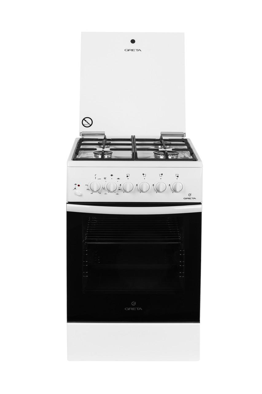 Плита комбінована Greta 1470-ГЭ/09 біла (чавунна решітка)