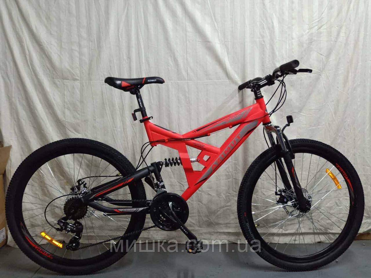 """Велосипед горный двухподвесной Azimut Shock 24"""" красный"""