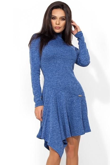 12a39acc6fb1a22 Синее платье с асимметричной юбкой-солнце Д-1270 - Lace Secret - Магазин  женского