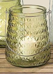 Подсвечник Джесси зеленое лакированное стекло h 20 см d 17 см
