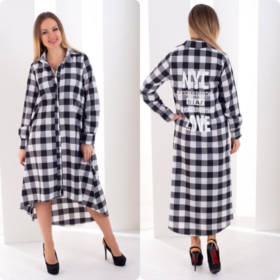 10d0c38abe4 Платье рубашка сзади удлинённая от 44 до 50 размера - VIKTORI в Харькове