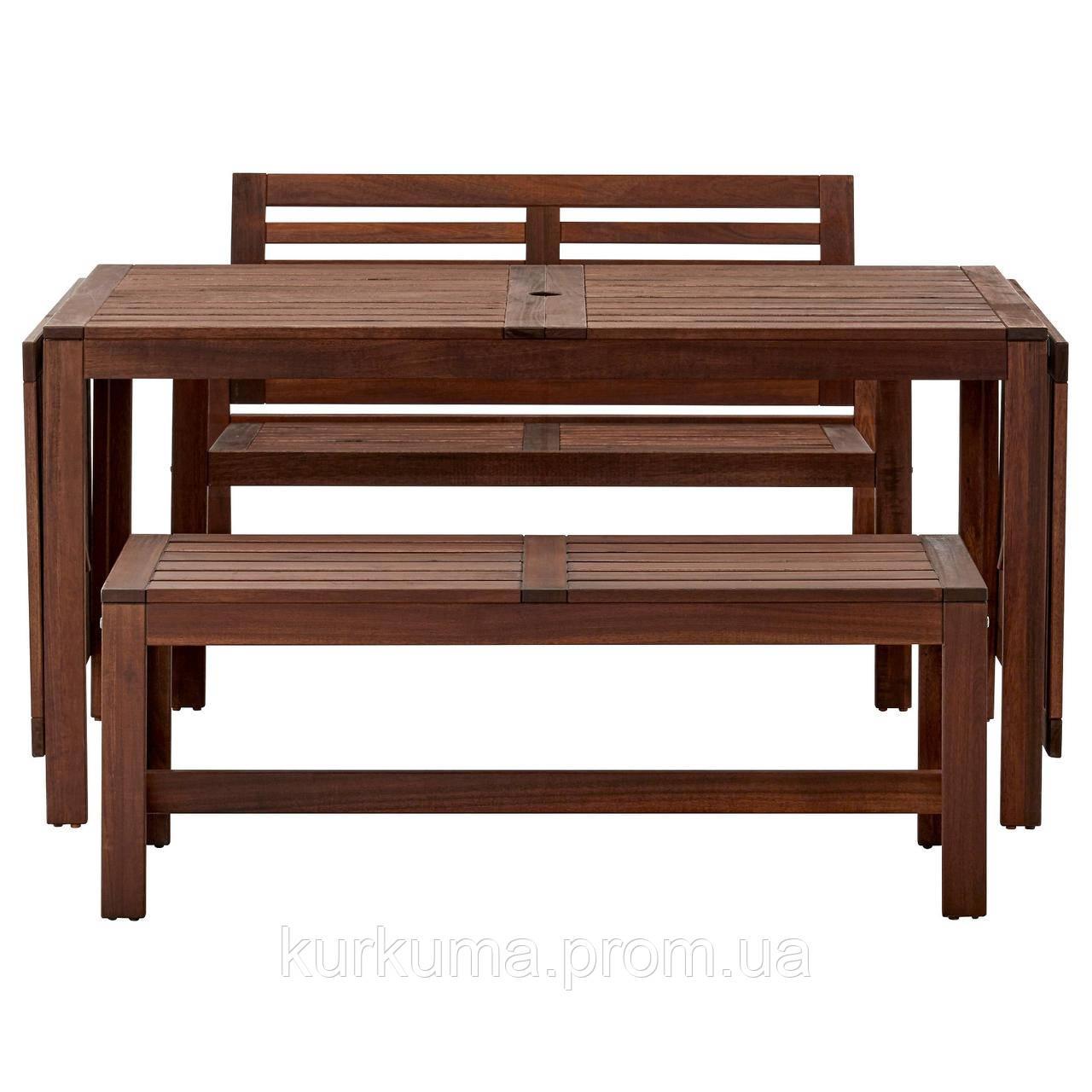 IKEA APPLARO Садовый стол и 2 скамейки, коричневая морилка  (390.539.31)