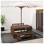 IKEA APPLARO Садовый стол и 2 скамейки, коричневая морилка  (390.539.31), фото 2
