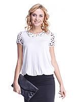 Блуза Мирабелла белая с воротничком в горошек