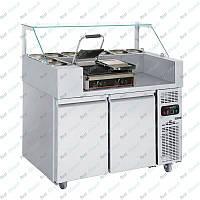 Холодильная рабочая станция + гриль контактный двухпостовой GGM Gastro ZBF127D#KGKB300