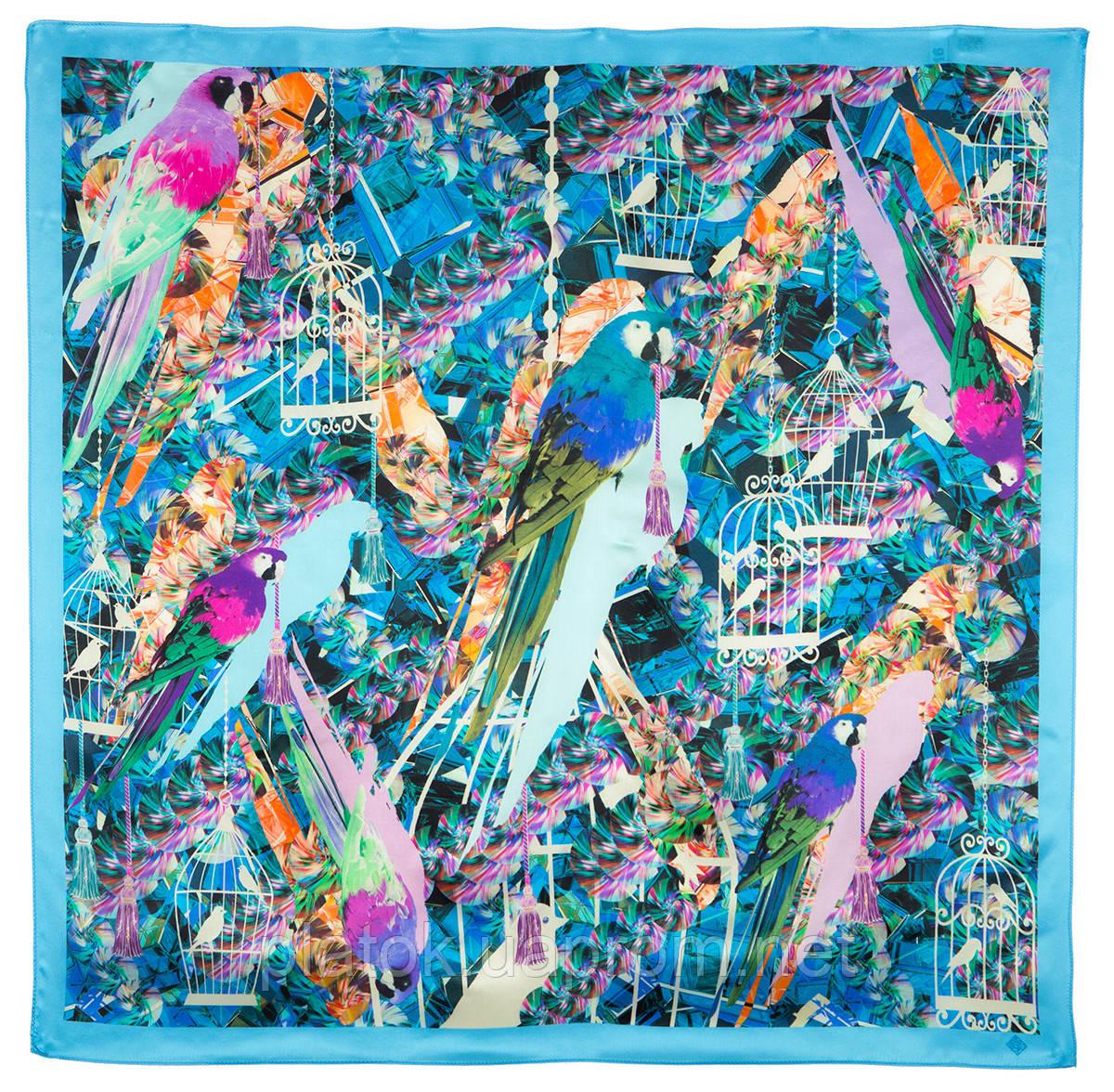 Платок шелковый (атлас) 10101-12, павлопосадский платок (атлас) шелковый с подрубкой