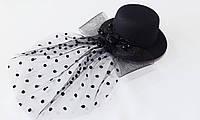 Шляпка - мини декоративная 13.5 см (заколка уточка) цвет в ассортименте