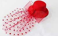 Шляпка - мини декоративная 13.5 см (заколка уточка) красная/черная