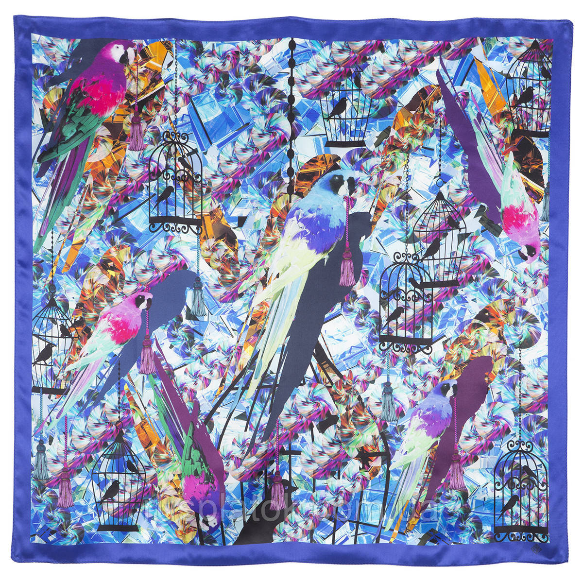 Платок шелковый (атлас) 10101-14, павлопосадский платок (атлас) шелковый с подрубкой