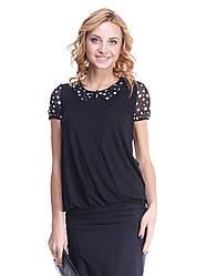 Блуза Мирабелла черная с воротничком в горошек