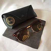 Солнцезащитные очки Ray Ban Clubmaster коричневый стекло комплект