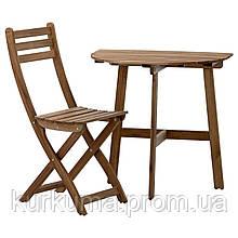 IKEA ASKHOLMEN Садовый пристенный стол и раскладной стул, серо-коричневая морилка  (291.334.05)