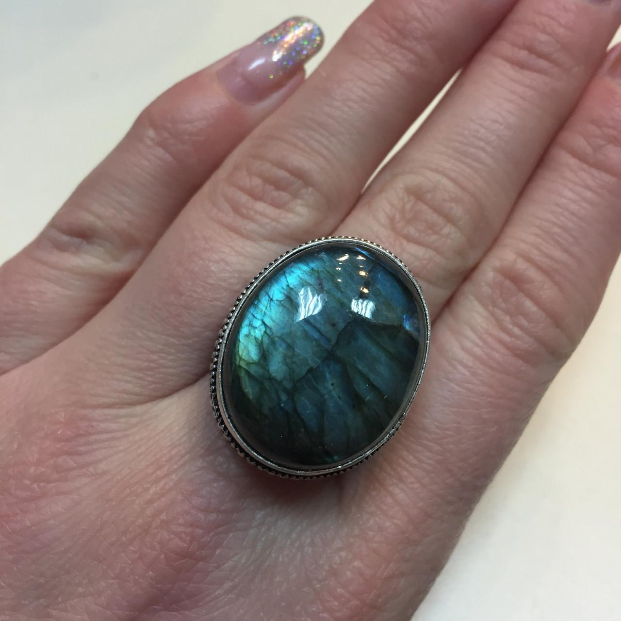 Кольцо голубой лабрадорит в серебре. Кольцо с натуральным лабрадором размер 18-18,3 Индия