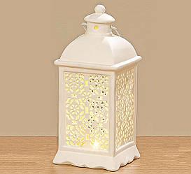 Светодиодный фонарь подсвечник керамика h 20 см
