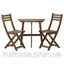 IKEA ASKHOLMEN Садовый стол и 2 раскладных стула, серо-коричневый окрашенный (191.779.18)