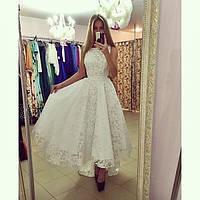 Платье пышное белое перед короче спинкир 42-58