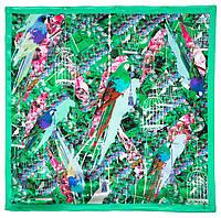 Платок шелковый (атлас) 10101-9, павлопосадский платок (атлас) шелковый с подрубкой