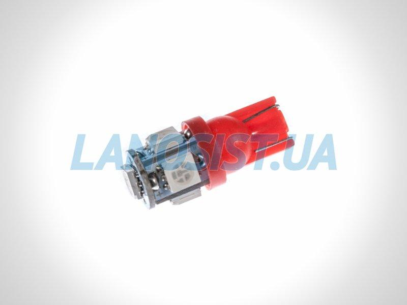 Лампа LED W5W 75Lm 5xSMD (5050) (красная) 10170.