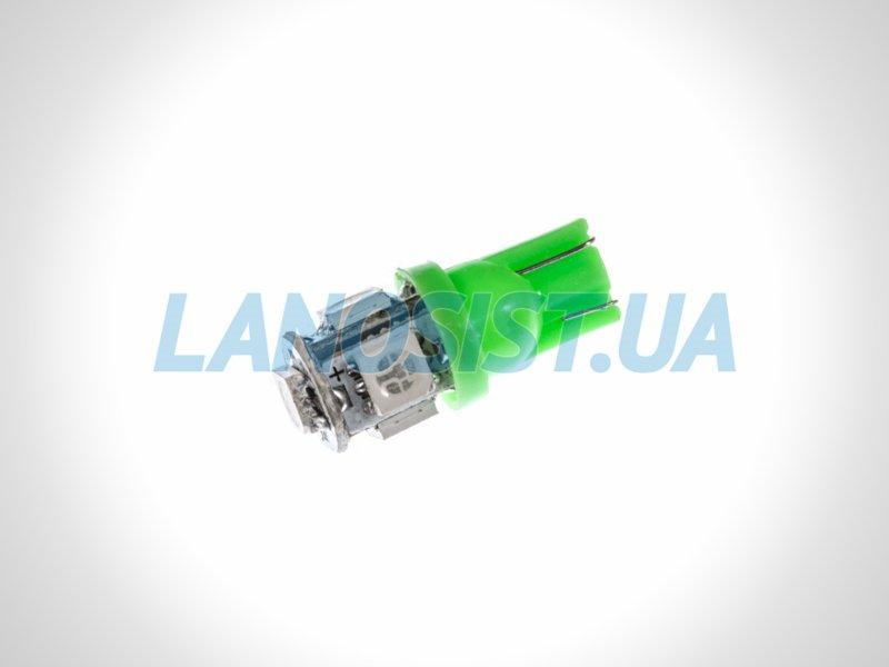 Лампа LED W5W 75Lm 5xSMD (5050) (зеленая) 10180.