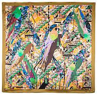 Платок шелковый (атлас) 10101-16, павлопосадский платок (атлас) шелковый с подрубкой