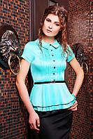 Блуза Богдана к/р мятная с атласным блеском с защипами на груди отложным воротничком ремешком и баской