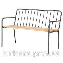 IKEA PRASTHOLM Садовая скамья со спинкой, серая  (704.181.70)
