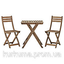 IKEA ASKHOLMEN Садовый стол и 2 раскладных стула, серо-коричневый окрашенный серый  (299.300.59)
