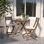 IKEA ASKHOLMEN Садовый стол и 2 раскладных стула, серо-коричневый окрашенный серый  (299.300.59), фото 2