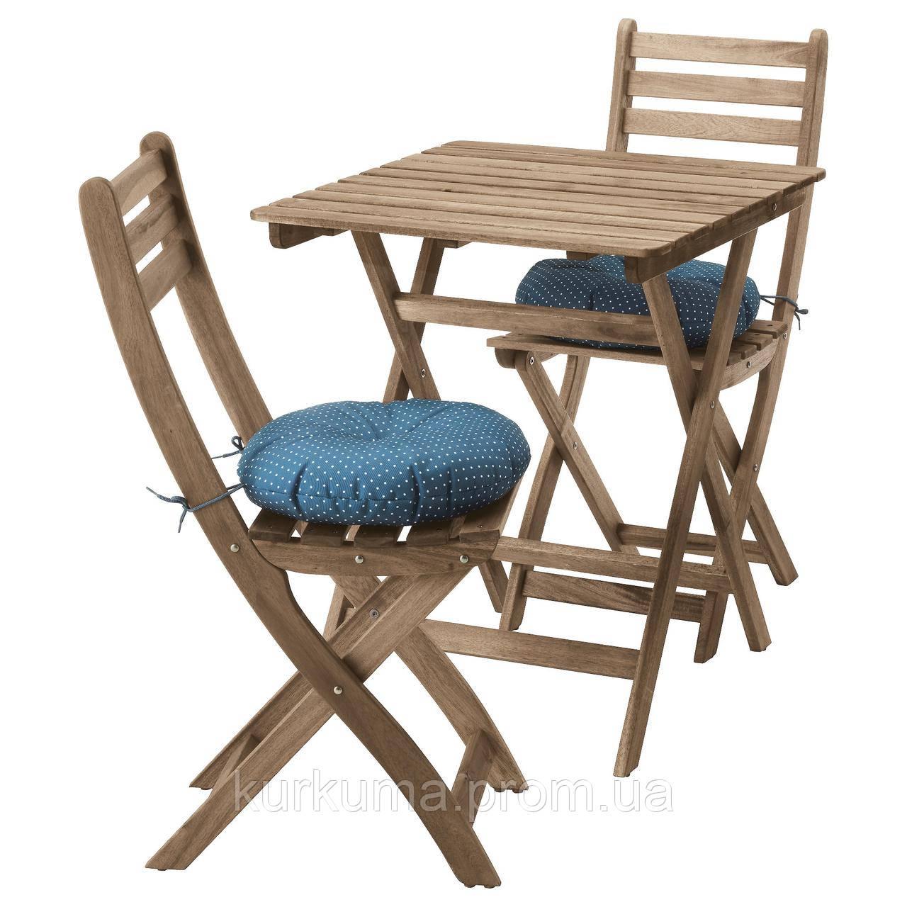 IKEA ASKHOLMEN Садовый стол и 2 раскладных стула, серо-коричневый серо-коричневая морилка, (291.835.32)