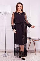 Коктельное платье с сеткой и кружевом большой размер
